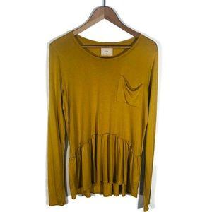 Anthropologie T. LA Mustard Long Sleeve T-Shirt